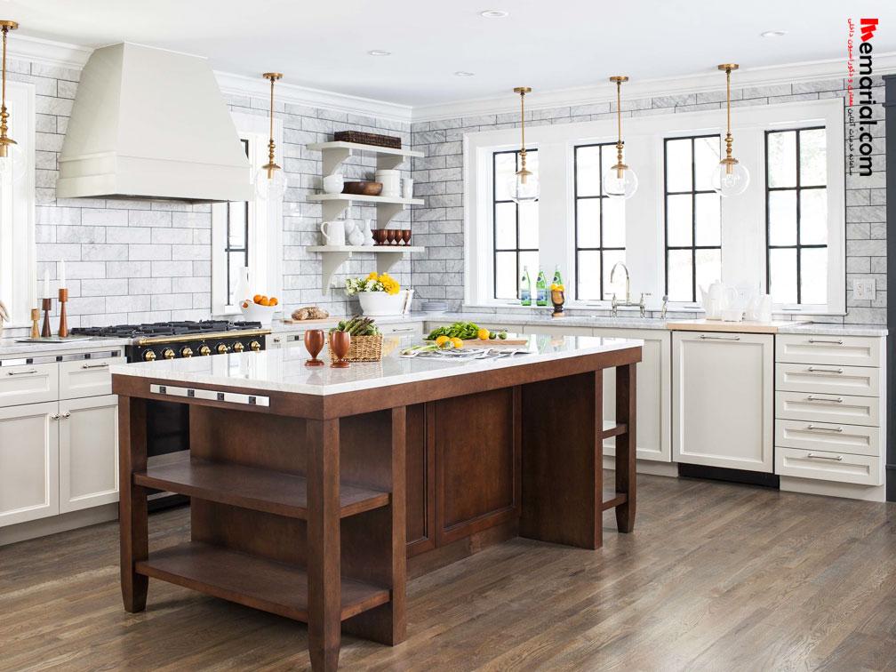 ترکیب جزیره چوبی با آشپزخانه سفید